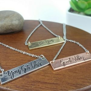 Good Vibes Bar Charm Silver Tone Necklace
